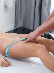 Teen gets her tight pussy fucked by the masseur
