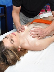 Hot and sexy brunette 18 year old Alice gets fucked hard by her massage therapist